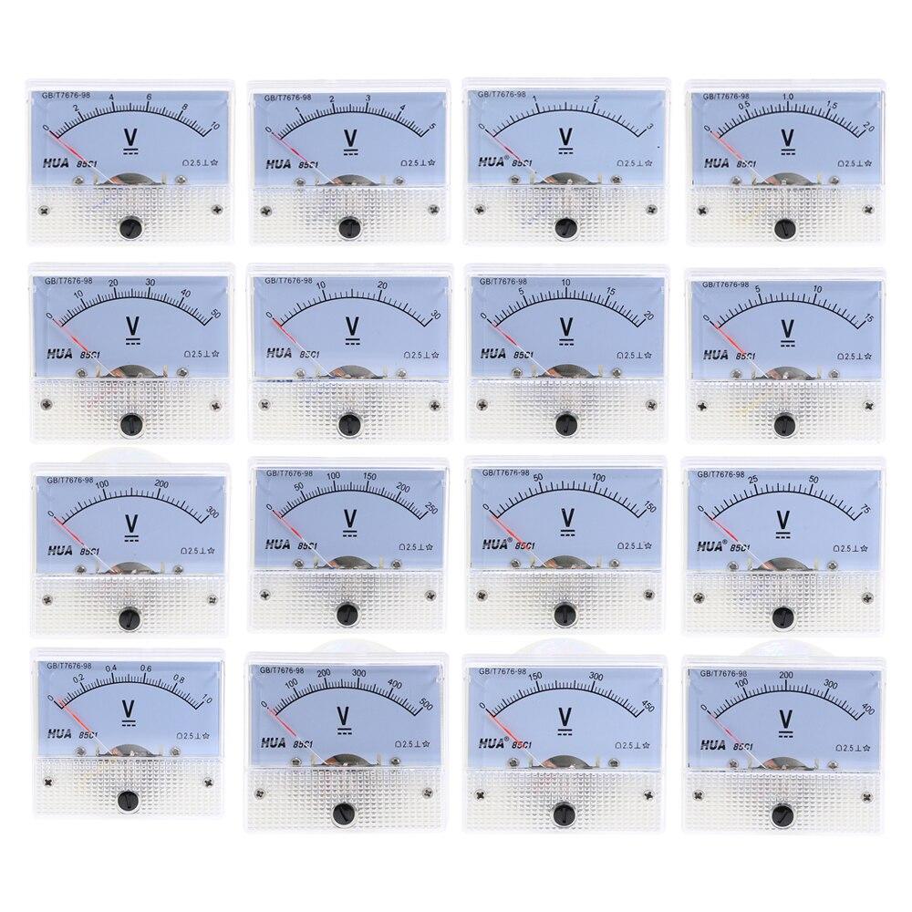 DC Analog Panel Volt Voltage Meter 85C1 Voltmeter Gauge 20V 30V 50V 75V 150V 250V 300V 400V 450V 500V Mechanical Voltage Meter