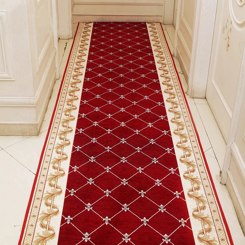 Long Hallway Rug And Carpet For Corridor Living Room Staircase Non-Slip Red Carpet Hotel Home Mall Entrance Hall Channel Doormat