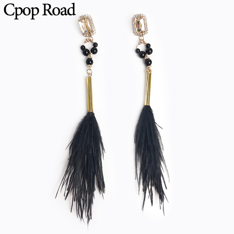 Cpop Trendy Long Boho Black Feather Earrings Beads Rhinestone Elegant Statement Fashion Jewelry Accessories Gift