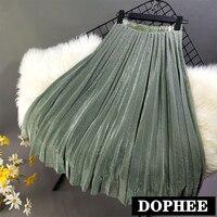 Bright Silk Medium Long Pleated Skirt Women's Solid Color Spring Summer High Waist A Line Skirts