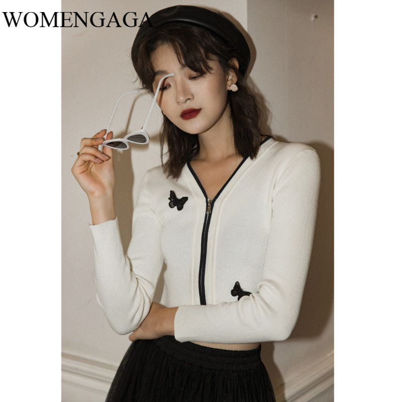 Korea Cropped Cardigan Women White V Neck Knitted Sweater Cable Knit Cardigan Butterfly Appliques Short Cardigan IV05