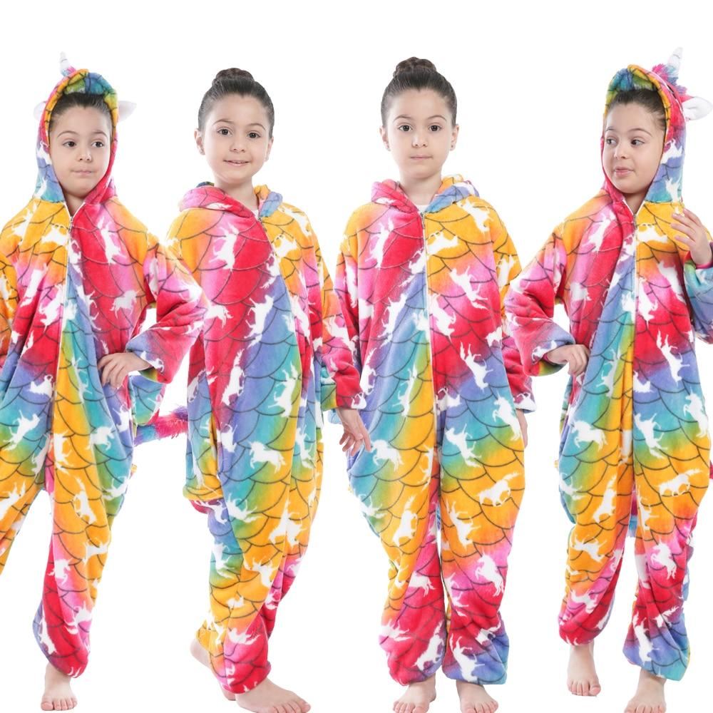 Children Kigurumi Unicorn Pajamas Kids Baby Animal Overalls Jumpsuit Onesie Panda Pajama Sleepwear Girls Cosplay Pyjama Pijamas 5