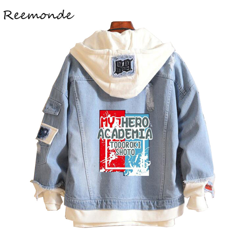 Anime My Hero Academia Shoto Todoroki Cosplay Costumes Attack On Titan Fate Blue Denim Jacket Hoodie For Girls Boys Spring Coat