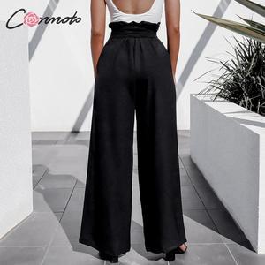 Image 4 - Conmoto Fall 2019 Women Fashion Black Long Pants Casual High Waist Wide Leg Trousers Female Autumn Winter Large Size Lady Pants