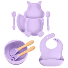 7pcs/Set Baby Free BPA Non-Slip Plates With Sucker Solid Colour Waterproof Portable Feeding Fork Spoon Kids Food Bowl Set