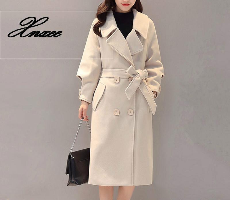 2020 New Autumn Winter Elegant Women Long Woolen Coat Female Solid Color Leisure Loose Warm Thick Plus Size Woolen Coat