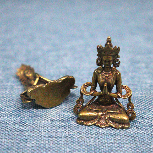 Solid Copper Mini Guanyin Buddha Statue Living Room Decorations Feng Shui Miniatures Figurines Home Decor Car Ornaments Crafts 5