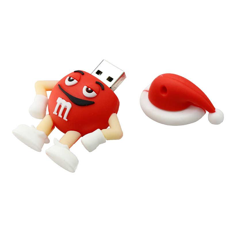 Pendrive סנטה קלאוס חג המולד איילים מתנת זיכרון מקל עט כונן 4GB 8 16 GB 32GB 64GB 256 GB Pendrive m & m U דיסק USB דיסק און קי
