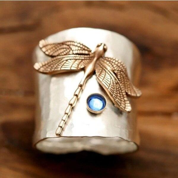 В винтажном стиле с украшением в виде синих кристаллов и с рисунком стрекозы кольца для женщин модные женские обручальные кольца классичес...