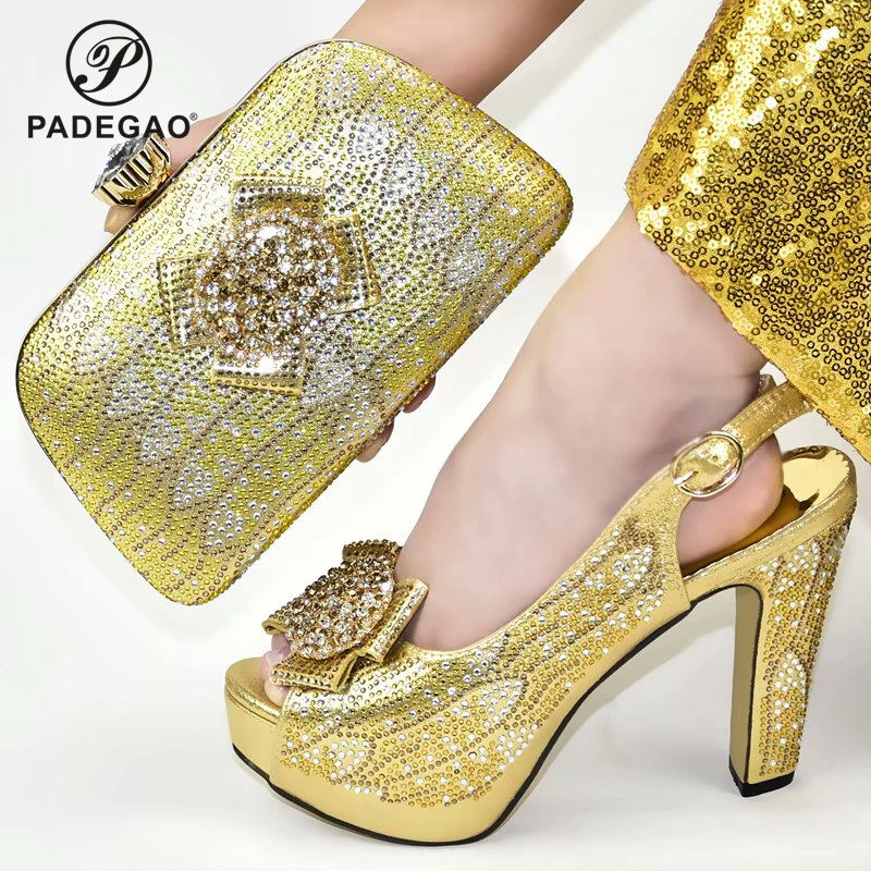 Gold Color 2020 Summer Newest Italian Design Italian Women Shoes Matching Bag Decorate with Rhinestone Nigerian Lady Shoes