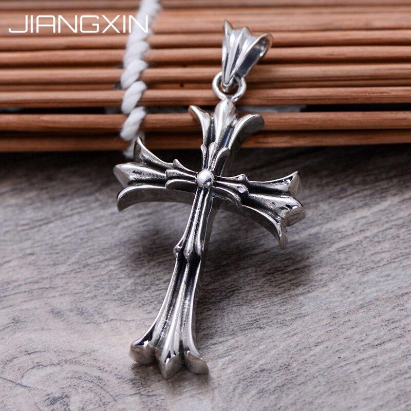 4.5cm * 3.0cm 925 pendentif croix en argent Sterling 16.6g rétro Antique finition bijoux pour hommes femmes réglable corde noire
