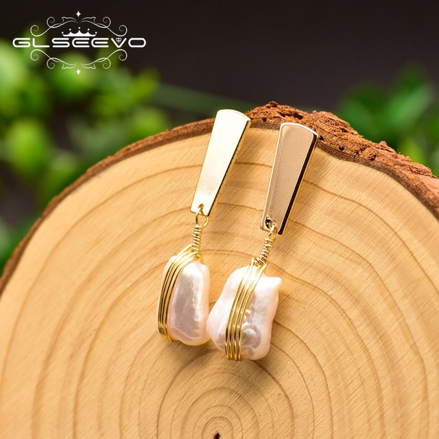 GLSEEVO Geometric 100% Genuine Fresh Water White Pearl Drop Earring Minimalism Luxury Pendientes Mujer Fine Jewelry GE0820