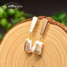 GLSEEVO Geometrische 100% Echte Frische Wasser Weiß Perle Tropfen Ohrring Minimalismus Luxus Pendientes Mujer Feine Schmuck GE0820