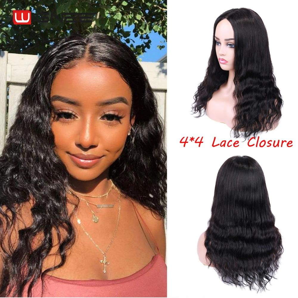 Wignee 4x4 Lace Closure Human Hair Wigs For Black Women Middle Part Straight Hair/Deep Wave 150% Density Glueless Lace Human Wig