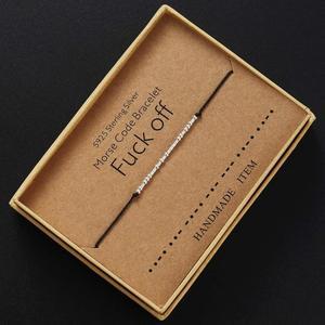 Morse Code Bracelet Charm Beads Bracelets Valentines Friendship Bracelets Silver String Adjustable Gift for Women Men Jewellery(China)