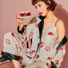 Women's pajamas sleepsuit pajamas women's silk Satin Sleepwear 3Pcs Pyjamas Sleep