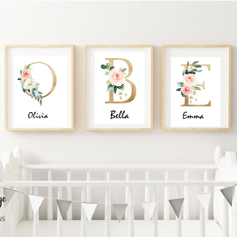 Woodland Animal Print Nursery Canvas Painting Custom Name Wall Art Pink Flowers Poster Nordic Wall Pictures Baby Girl Room Decor|Painting & Calligraphy| |  - title=