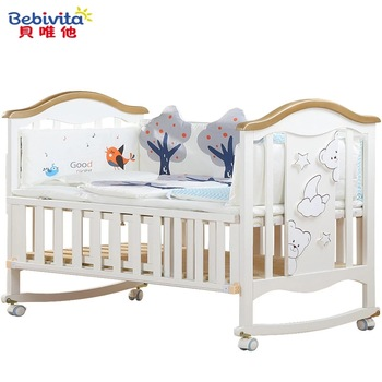 0-6 Years Baby Bed Solid Wood European Multifunctional White Baby Bb Bed Cradle Bed Neonatal Stitching Bed With Bedding Cartoons luxury pine solid wood logs baby crib adjustable 3 in 1 stitching multifunctional storage cradle baby bed with guardrail for kid