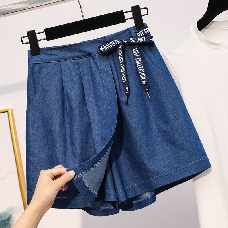 Make Summer New Big Five Yards Ladies Tencel Denim Short Skirts Shorts Fat MM Loose Wide-legged Han Edition Denim Hot Shorts