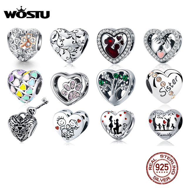 WOSTU 100% Authentic 925 Sterling Silver Heart Shape Charm Mom Beads Fit Original Bracelet Pendant DIY Jewelry Charms Gift 1