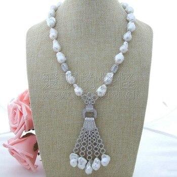 "N030601 22"" White Keshi Pearl Necklace CZ Pendant"