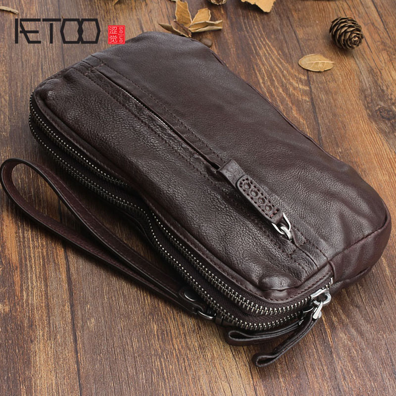 AETOO Original Hand-made Retro Leather Handbag First Layer Of Leather Wallet Multi-card Clutch Bag Multi-purpose Vintage