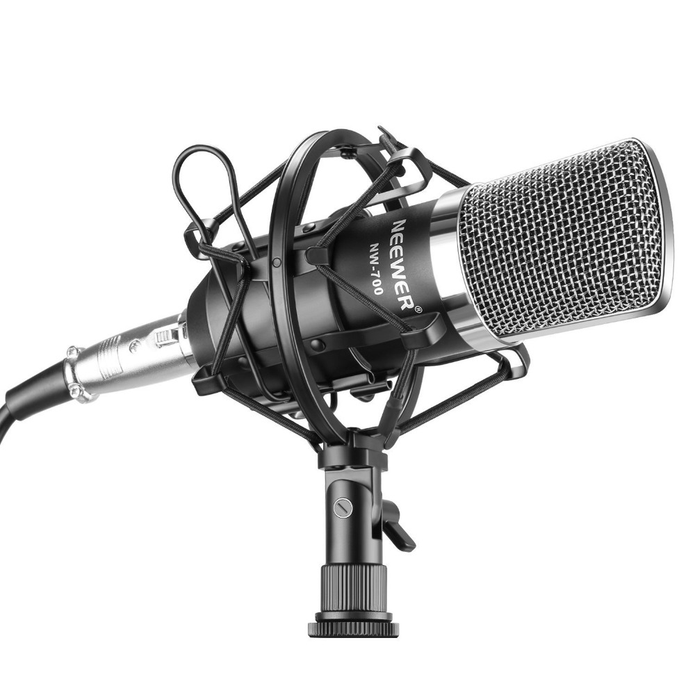 Профессиональный Студийный конденсаторный микрофон Neewer NW700 для вещания и записи музыки, комплект: микрофон, ударное крепление, поролоновая ...