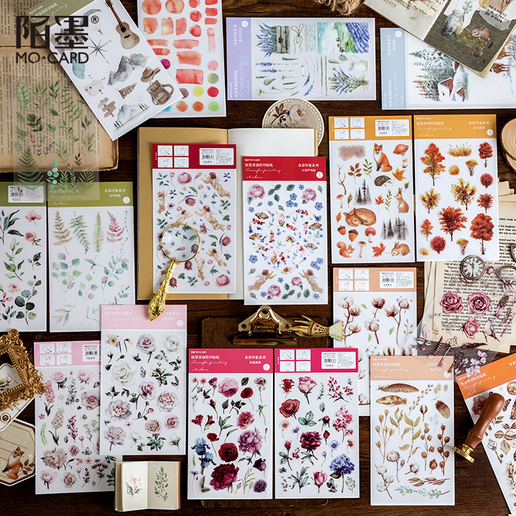 Watercolor Impression Series Journal Decorative Stickers Scrapbooking Stick Label Diary Stationery Album Plant Flower Stickers