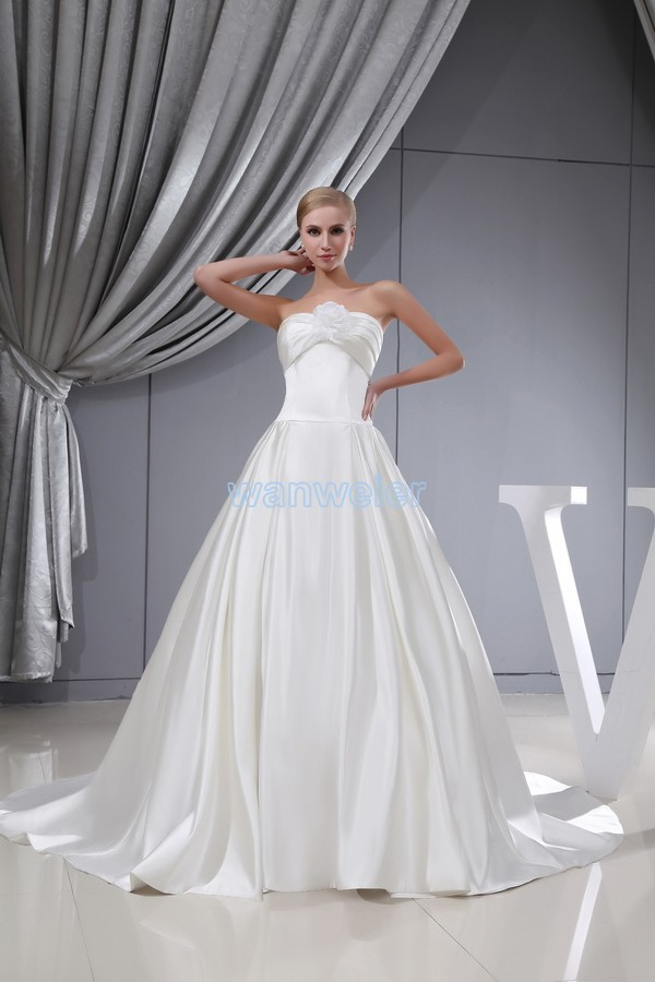 Free Shipping Ball Gown Lace Up Fashion For Wedding Sweetheart Handmade Flower Small Train Custom Size/color White Wedding Dress