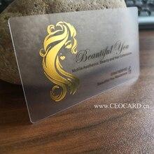 Plastik şeffaf kartvizit altın gümüş folyo ile üzerinde sıcak damgalama logo ve metin 200 adet
