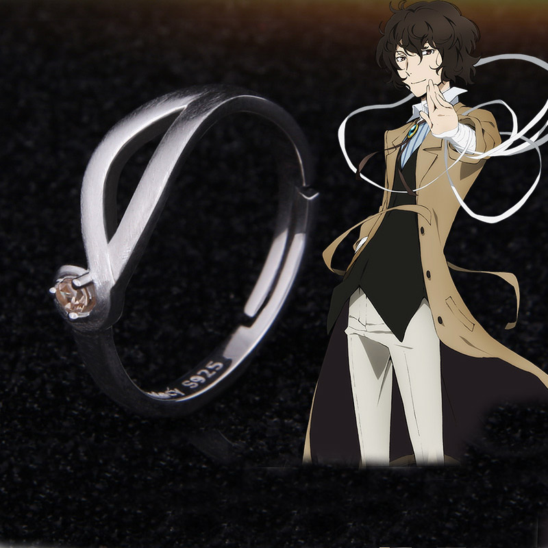 Anime Bungo Stray Dogs Osamu Dazai Ring Adjustable Silver Cosplay  Prop New Figure 925 Sterling Silver Ring Xmas GiftRings   -