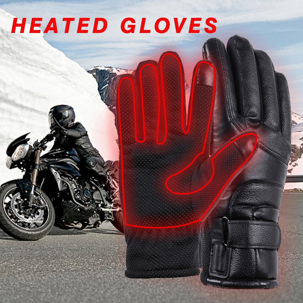 1 Pair Rechargeable Motorcycle Heating Gloves Touch Screen Non-slip PU Warm Gloves USB Charging Winter Cycling Skiing Gloves