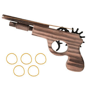 Wooden Gun Toys Game Rubber-Band Launcher Shooter Classic Outdoor New Fun