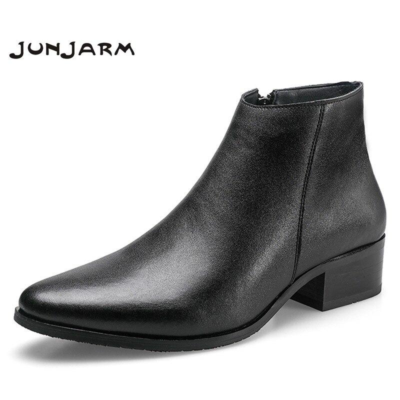 JUNJARM 2020 Men Ankle Boots Genuine Leather Men Boots Fashion Men Chelsea Boots Black Comfortable Men Footwear