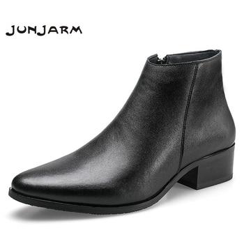 JUNJARM 2020 Men Ankle Boots Genuine Leather Men Boots Fashion Men Chelsea Boots Black Comfortable Men Footwear bossdun men