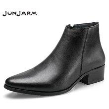 JUNJARM 2020 erkekler yarım çizmeler hakiki deri erkek botları moda erkekler Chelsea çizmeler siyah rahat erkek ayakkabı