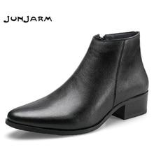 JUNJARM 2020 الرجال حذاء من الجلد جلد أصلي للرجال أحذية موضة الرجال تشيلسي أحذية سوداء مريحة أحذية رجاليأحذية أساسية