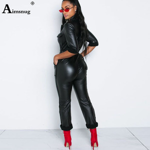 Image 3 - Women Fashion High Waist PU Leather Jumpsuits Lace up Skinny Bodysuits Girls Zipper Faux Leather Spring Winter Sexy Overalls
