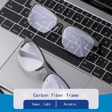 Carbon fiber half-frame blue light glasses women high-end luxury stainless steel anti-radiation male ultra-light eyeglasses