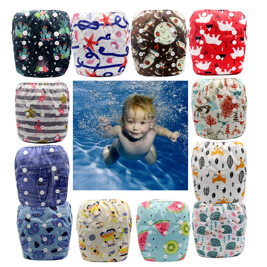 MABOJ Swim Diapers Waterproof Pool Pants Unisex Adjustable Baby Swim Diaper Pant One Size Breathable Cover Suit Baby Nappies