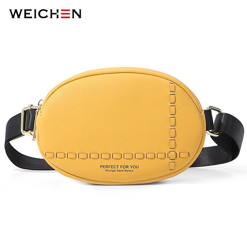 WEICHEN Multi-functiona Oval Chest Bag & Waist Packs Women Bag Leather Ladies Bum Pochete Bolsa Belt Bag Sac Fanny Pack Purse