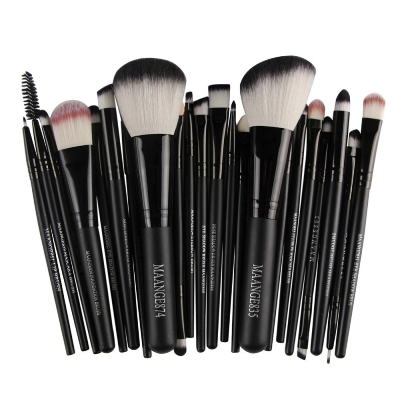 <font><b>22</b></font> Pcs Professional <font><b>Cosmetics</b></font> <font><b>Brushes</b></font> <font><b>Set</b></font> Aluminum Handle <font><b>Makeup</b></font> <font><b>Brushes</b></font> For Face Foundation Powder Eye Shadow Contour image