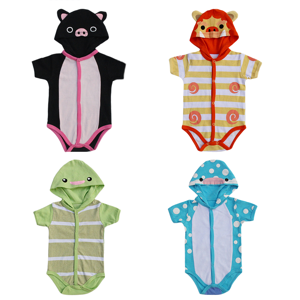 Newly 5 Styles Animal Hooded Baby Bodysuit 6-9 Month Girl Boy Newborn Baby One Pieces 100% Cotton Infant Clothes
