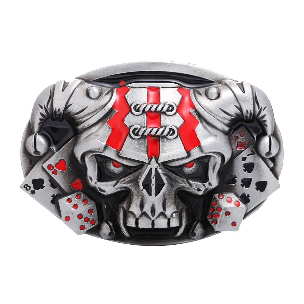 Vintage Western Belt Buckle 3D Skull Head Gothic Rock Motorcycle Biker Western Cowboy Belt Buckles Replacement Belt Accessories