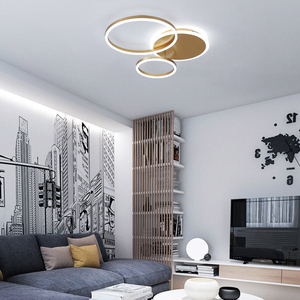 Image 4 - Remote Controller 2/3/5/6 Circle Rings Modern led Chandelier For living Room Bedroom Study Room White/Brown Color Chandelier