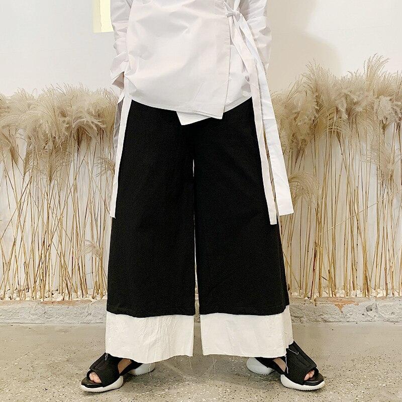Men Cotton Linen Black White Splice Casual Wide Leg Pant Male Japan Streetwear Kimono Trousers Couple Skirt Pant