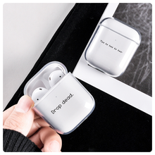 Simple Words Text Clear Cases For Airpods Case Soft Silicone Cover for Apple Air pods 1 2 Earphone c