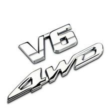 1Pcs 3D Metal V6 4WD Car Side Fender Rear Trunk Emblem Badge Sticker Decals for Highlander Car Accessories Decorations
