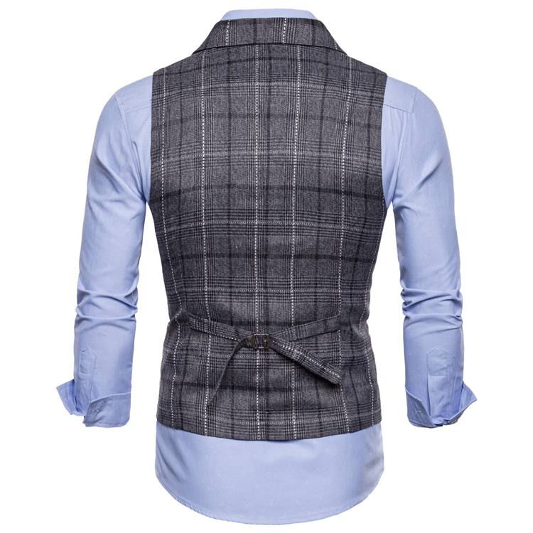 H5618ed537c3b4fb9a5ad05aa084b7a5an - New Mens Vest Casual Business Men Suit Vests Male Lattice Waistcoat Fashion Mens Sleeveless Suit Vest Smart Casual Top Grey Blue