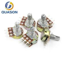 5pcs WH148 B1K B2K B5K B10K B20K B50K B100K B500K 6Pin 20mm Shaft Amplifier Dual Stereo Potentiometer 1K 2K 5K 10K 50K 100K 500K